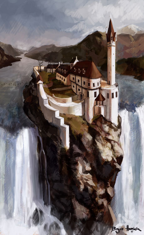 dzurlady:  Illustration of the Abhorsen's house from Garth Nix's Old Kingdom trillogy.