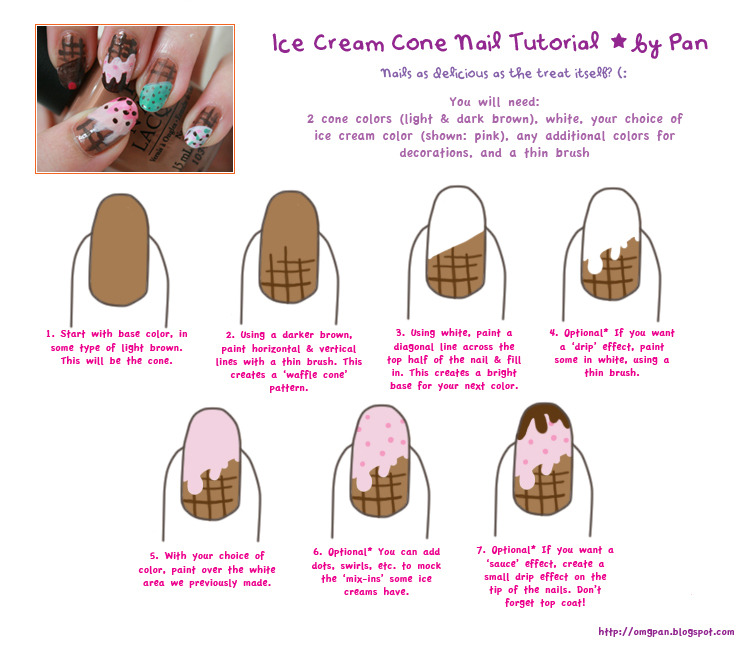 Ice cream cone nail tutorial