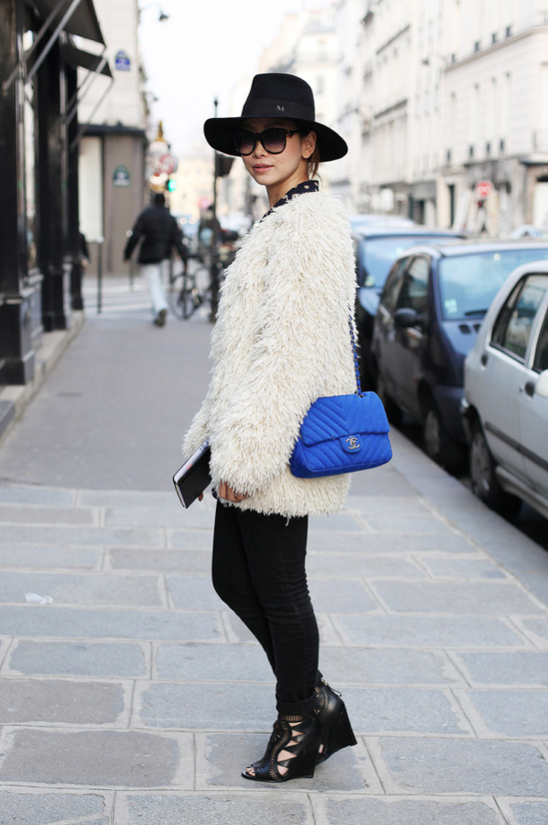 Maiko Shibata, Director of Restir, Paris Fashion week, wearing a Masion Michel hat