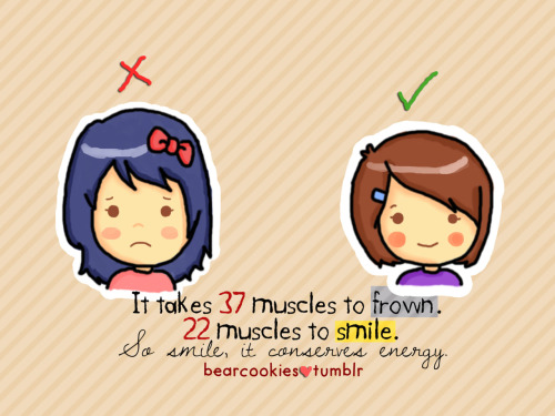 bearcookies:  Smile more. Frown Less. :)