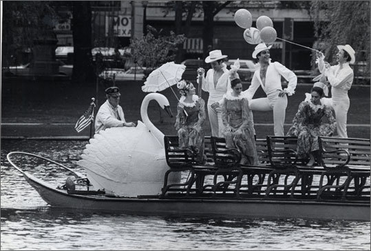 Public Garden Swan Boats through the years - Boston's Swan Boats have been gliding through the Public Garden since the 19th century. Their seasonal 15-minute rides through the lagoon are slated to begin today.
