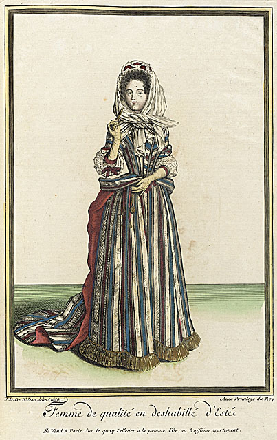 A fashion plate of a French noblewoman in a striped mantua, dated 1684.