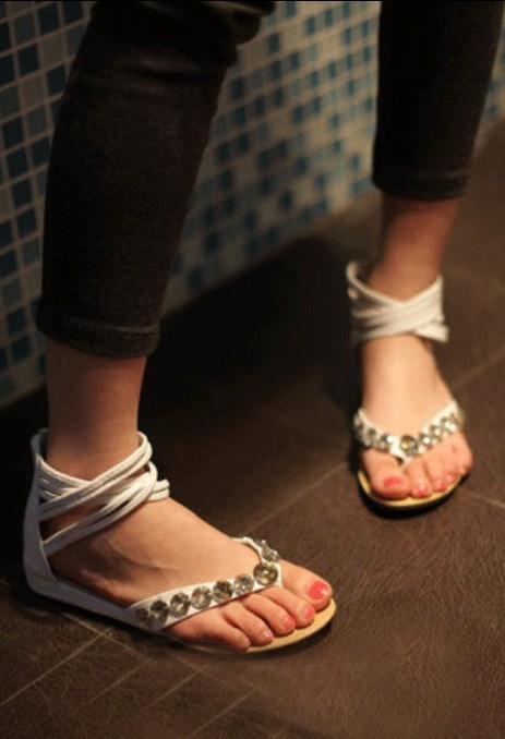 White multi strap embellished sandals = $6 also comes in mustard yellow