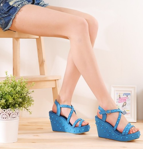 Blue wedge platform sandals = $16