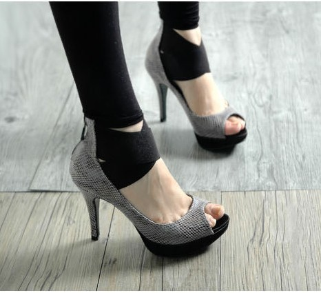 Korean Style Zipper Fish-mouth High Heel Shoes Black = $10