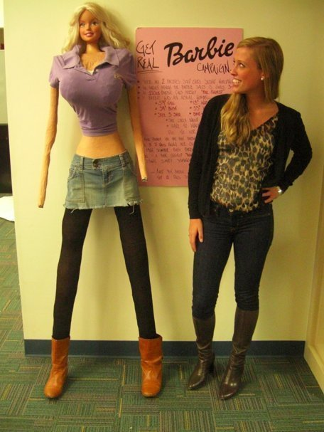 "10000steps:   • If Barbie were an actual women, she would be 5'9"" tall, have a 39"" bust, an 18"" waist, 33"" hips and a size 3 shoe.• Barbie calls this a ""full figure"" and likes her weight at 110 lbs.• At 5'9"" tall and weighing 110 lbs, Barbie would have a BMI of 16.24 and fit the weight criteria for anorexia. She likely would not menstruate.• If Barbie was a real woman, she'd have to walk on all fours due to her proportions.• Slumber Party Barbie was introduced in 1965 and came with a bathroom scale permanently set at 110 lbs with a book entitled ""How to Lose Weight"" with directions inside stating simply ""Don't eat.""  The last one…wow!"