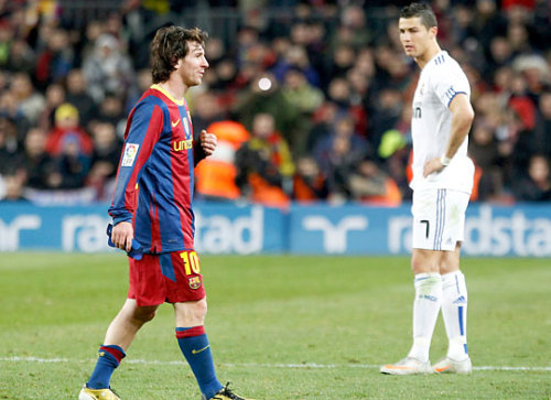 El Clásico (English: The Classic), also known as El derbi Español or El Clàssic, is the name given to any football match between Real Madrid and FC Barcelona. It is contested twice a year in the Spanish La Liga competition, and more often if the clubs meet in other competitions. Other than the UEFA Champions League Final, it is the most followed club football match in the world, watched by hundreds of millions of people. Next Match: April 16th, 2011.