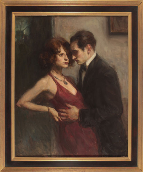 "Today is the opening day of the brand new Ron Hicks show at our gallery in Soho. The opening runs from 4 to 6 pm, and the artist will be in attendance. This is the centerpiece of the show— ""Intimate Encounter."" Continuing his theme of romance in the presence of fashion, Hicks depicts a couple that is close by proximity, but infinitely distant in an emotional sense. Subtle gestures are complimented by loose brush strokes that really drive home the dramatic nature of the scene. Everything about each characters' body language— their hands, facial expressions, and postures— create an undeniable dissonance in this romantic pairing. Each painting in the show reads like a cinematic still, rendered in oil. I strongly recommend stopping by this weekend to see all this great work in person.Ron Hicks, ""Intimate Encounter,"" Oil on Linen, 50"" x 40"""