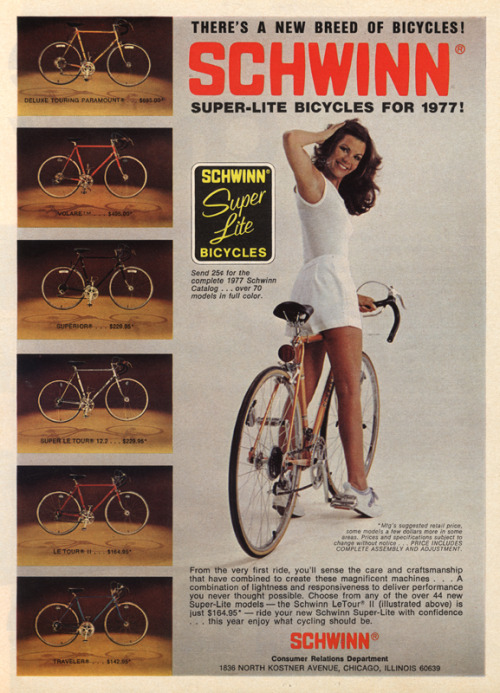 Schwinn Super-lite bicycles for 1977
