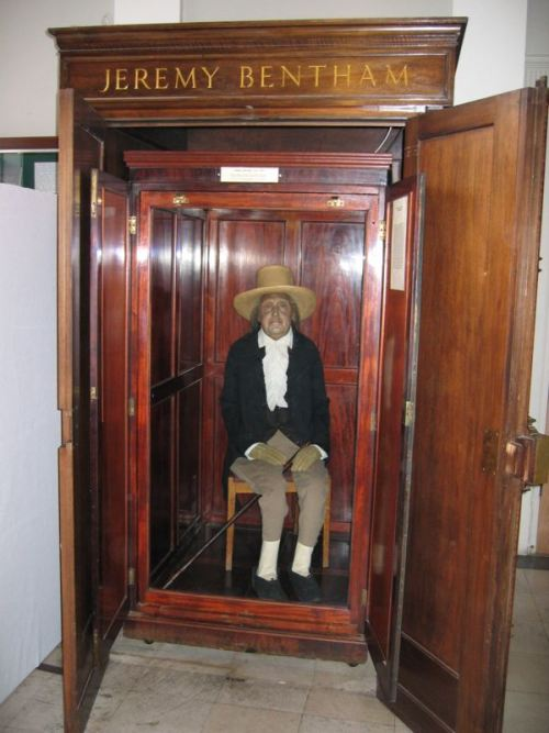 "How could I not post about Jeremy Bentham and his ""auto-icon""? From Wikipedia:  As requested in his will, Bentham's body was dissected as part of a public anatomy lecture. Afterward, the skeleton and head were preserved and stored in a wooden cabinet called the ""Auto-icon"", with the skeleton stuffed out with hay and dressed in Bentham's clothes. Originally kept by his disciple Thomas Southwood Smith, it was acquired by University College London in 1850. It is normally kept on public display at the end of the South Cloisters in the main building of the college, but for the 100th and 150th anniversaries of the college, it was brought to the meeting of the College Council, where it was listed as ""present but not voting"". The Auto-icon has a wax head, as Bentham's head was badly damaged in the preservation process. The real head was displayed in the same case for many years but became the target of repeated student pranks, including being stolen on more than one occasion. It is now locked away securely."