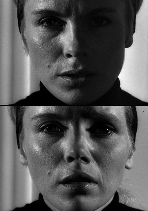 "Bibi Andersson & Liv Ullmann in Persona (1966, dir. Ingmar Bergman) ""My words mean nothing to you. People like you can't be reached. I wonder whether your madness isn't the worst kind. You act healthy, act it so well that everyone believes you. Everyone except me, because I know how rotten you are."""