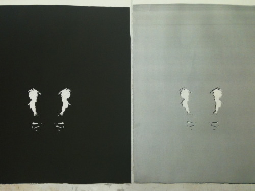"""Anxiety only kills us both"" Stone Lithograph. 2011  its a working edition, i'm doing a reduction and hopefully by the end i'll have a great reduced print. I dont think i've been THIS excited about a print ever. i'm in love with my print."