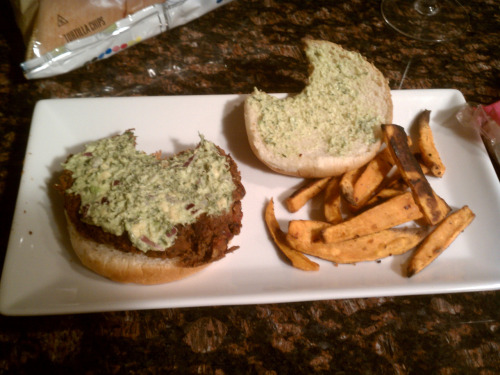 Black Bean Burgers with Guacamole Cream and Sweet Potato French Fries Black Bean Burgers (Serves 8)Ingredients:  2 Fifteen Ounce Cans of Black Beans, Rinsed and Drained1 Ten Ounce Can of Ro-Tel Tomatoes and Green Chilies, Drained1 Egg, Beaten3/4 Cup of Bread Crumbs1/3 Cup of Onion, Minced1 Heaping Tsp. of Chile Powder1 Heaping Tsp. of Oregano 1 Tsp. of Salt  1/4 Tsp. of Black Pepper How To Make It1. Mash the beans with a potato masher in a larger mixing bowl. I spent about five minutes mashing, trying to make the beans as creamy as possibly.2. Add the rest of the ingredients and mix well. The mixture will be wet. Add additional bread crumbs if desired. Refrigerate for one hour.3. Heat a large skillet over medium heat and generously grease the bottom. Drop heaping 1/3 cups full of the burger mixture into skillet and use a spatula to create patty shapes. Cook for about 4-6 minutes on each side, CAREFULLY flipping, the burgers are very fragile. Cook in batches. You can freeze the leftover burger if necessary. Serve on whole wheat buns with Guacamole Cream. Tip: Do not expect the burgers to get as stable as a regular beef hamburger, the beans stay much softer. Guacamole CreamIngredients1 Avocado, Mashed 2 Tbs. Sour Cream1/4 Cup of Onion, Minced 2 Tbs. of Parsely  Two squeezes of fresh Lime juice Salt and Pepper to taste How To Make It1. Combine all ingredients in a small bowl. Season to taste. Refrigerate until serving. Sweet Potato French Fries (Serves 3)Ingredients: 2 Sweet PotatoesExtra Virgin Olive Oil1 Tsp. of SugarMrs. Dash Southwest Chipotle SeasoningSalt and Pepper How to Make It1.  Preheat oven to 450 degrees. 2.  Rinse, peel, and slice potatoes. 3.  Lightly drizzle potatoes in olive oil and evenly sprinkle with the sugar, seasoning, salt, and pepper. 4.  Bake fries in oven for 25 minutes, flipping after about 15 minutes. (Sweet Potato French Fry Recipe courtesy of Mal Warning)
