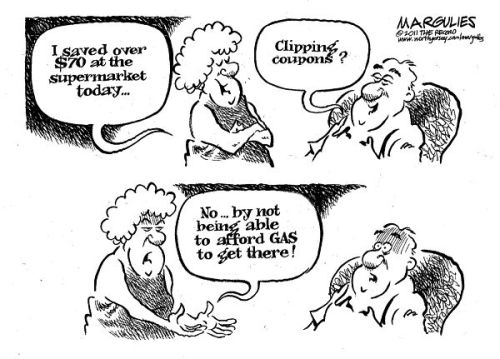 Jimmy Margulies, The Record    Rising oil prices have pushed gas prices above $4 per gallon in many places, inflating prices on everything from food to airfare, imperiling the fragile economic recovery. Experts have been a bit befuddled by the  steep rise in gas prices this early in the year, as global oil supplies  have remained steady despite unrest in the Middle East. Among other factors, experts are increasingly concerned about the  prevalence of speculators in the global oil market which may be  artificially inflating prices. Speculation on energy futures, including  oil, is at an all-time high, jumping 64 percent since 2008. Everyone from Goldman Sachs to Republican lawmakers have acknowledged the role of speculation in artificially driving up  prices. Energies futures markets used to be the domain of companies like  airlines and shippers, which appropriately use trades to hedge against  price volatility, but the markets are increasingly dominated by  speculators who are only interested in making profits.
