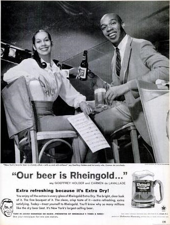 Carmen de Lavallade and Geoffrey Holder in a 1960 Rheingold beer ad.