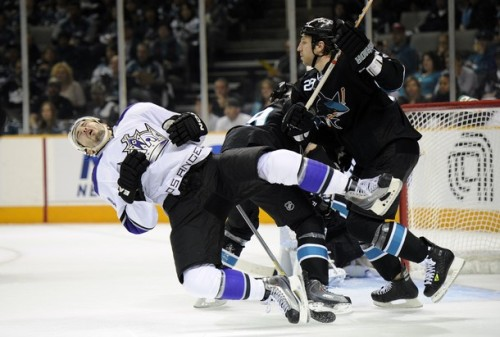 Ryan Clowe of the San Jose Sharks and Drew Doughty of the Los Angeles Kings
