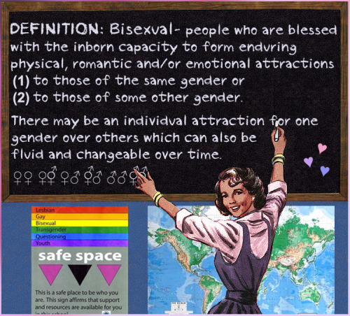 Definition: Bisexual = people who ♥ people of Same Gender as themselves + ♥ people of Different Genders/Gender Presentations from themselves