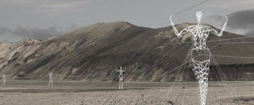 Human pylons carry electricity across Iceland  An architecture and design firm called Choi+Shine has submitted a design for the Icelandic High-Voltage Electrical Pylon International Design Competition which proposes giant human-shaped pylons carrying electricity cables across the country's landscape.