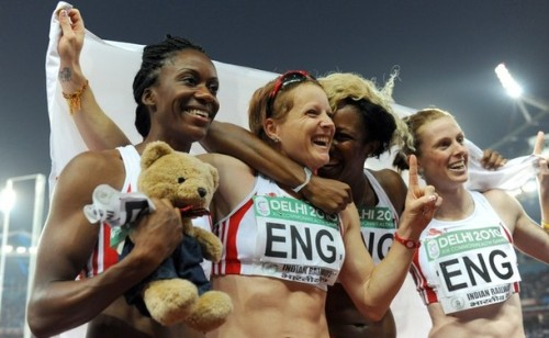womenandsports:  England's Abiodun Oyepitan (L), Montell Douglas (2nd R), Katherine Endacott (2nd L) and Laura Turner (R) celebrate their victory during the women's 4x100m relay final of the Track and Field competition of the XIX Commonwealth Games (via Photo from Getty Images)