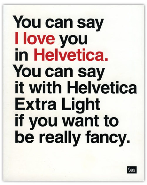 I Love you in Helvetica