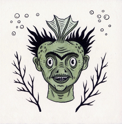 "fakepalindromess:  ""Head of Fiji Merman"" by Jon MacNair"