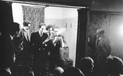 Early Goon performance in a room in Grafton's Pub (Strutton Ground), circa 1949.