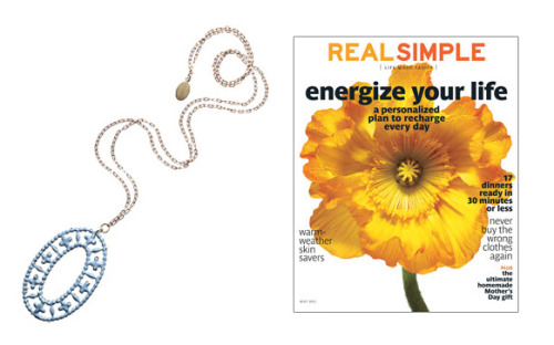 Real Simple featured our Tallulah necklace in their current (May) issue. Awesome! This bold pendant is palm-size yet practically weightless.To buy: $42, wedreamincolour.com