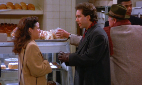 dailyseinfeld:  ELAINE: Ummm, I love the smell of bakeries.JERRY: Oh look Elaine, the black and white cookie. I love the black and          white. Two races of flavor living side by side [mumble?] It's a wonderful          thing isn't it?ELAINE: You know I often wonder what you'll be like when you're senile.JERRY: I'm looking forward to it.ELAINE: Yeah. I think it will be a very smooth transition for you. (via The Dinner Party)