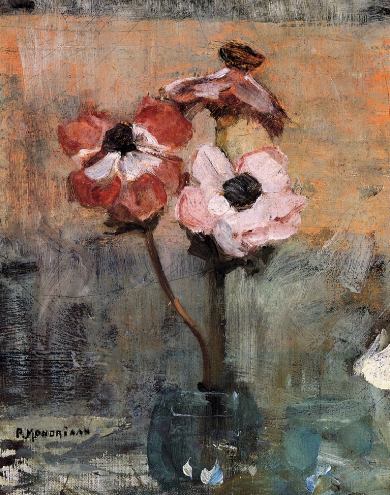 "proustitute:  Piet Mondrian, Anemones in a Vase, 1906(image via missfolly)""I have an idea for a 'play.' Summer's night. Someone on a seat. And voices speaking from the flowers.""— Virginia Woolf, from a diary entry dated 19 January 1935"