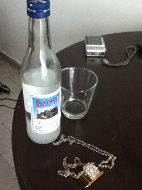 Ouzo. Traditional Greek spirits. This stuff right here puts hair on your chest.