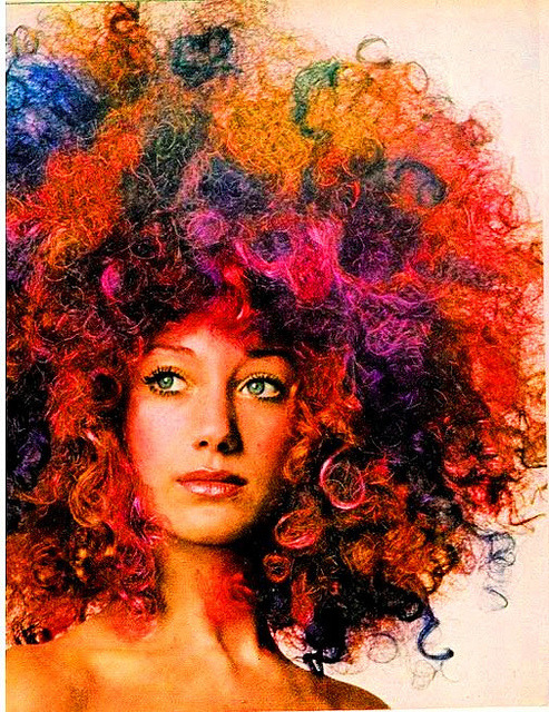 Marisa Berenson & Psychedelic Color Wig by artemis.niarchos on Flickr. US Vogue October 1970, photo by Berry Berenson