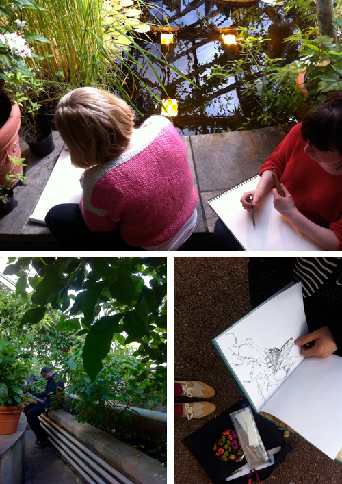 The Drawing Club, no:02: OSLO: Botanical Garden, Tøyen. 17th of april 2011. We met in the Botanical Garden cafe and started to draw people, trees and stones. Thanks to all participants: Fadlabi, Karin Erixon, Ingrid Rognstad, Arild Kristiansen, Jon Benjamin Lund Tallerås, Mari Kajo, Ingvild Østgård, Gilles & Cecilie Studio, Ann Langbakk, Aurora og Naomi. The second part of the drawing took place in one of the Botanical Garden tropical houses.