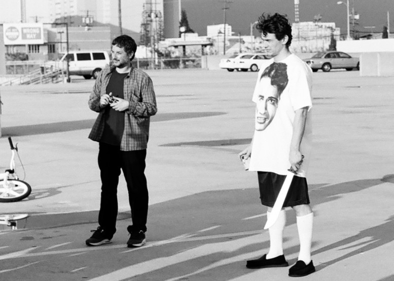 Harmony Korine and James Franco one the set of their project, Rebel