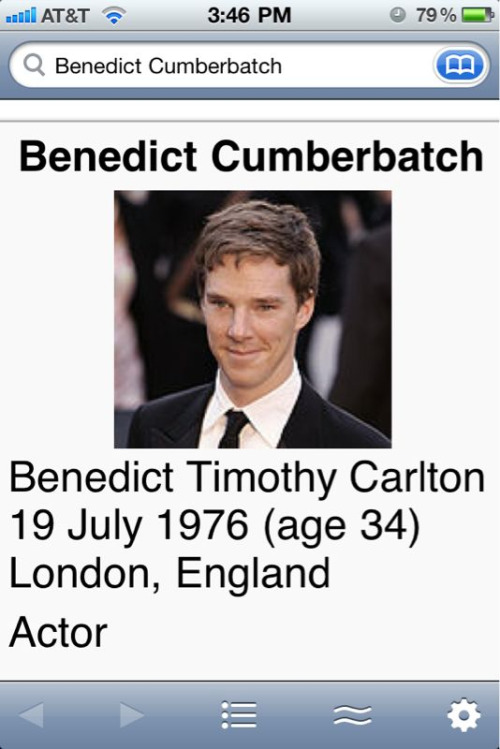 Guys!  Good news. I just found out Benedict Cumberbatch is only 4 years younger than me!  That makes my crush on him so much less creepy!  Hooray!