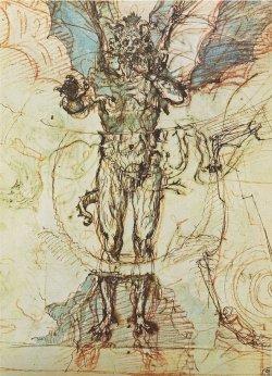 uromancy:  Ludovico Cardi (aka Cigoli).Sketch of Lucifer for The Divine Comedy, ca. 1590