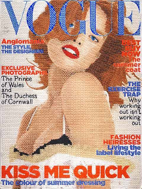 Hand-stitched Vogue magazine cover, by Inge Jacobsen. Via Lost at E Minor.