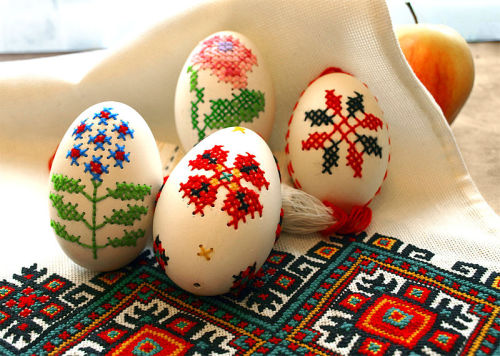 Embroidered Easter eggs by Qypchak, via Wikimedia. AWESOME.