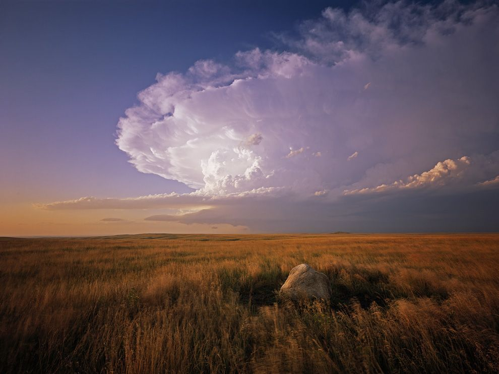 A glacial remnant boulder is surrounded by grassland in Cheyenne River Sioux Tribal Park in South Dakota. A growing number of tribes across the United States are making moves to bring back land crushed over generations of human use. Photograph by Jack Dykinga