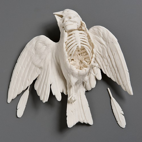 "Sparrow, 7""x6 ½""x2"",  hand built porcelain, cone 6 glaze, 7/2008, by Kate MacDowell"