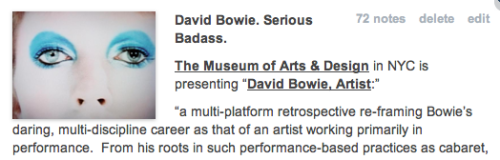 Apparently people on Tumblr really like David Bowie. It's the most popular thing I've posted since my Brooklyn tornado video last September. THANKS everyone for the reblogs and likes.