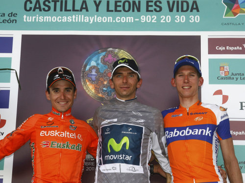 fuckyeahcycling:  Vuelta a Castilla y Leon 2011: final podium Xavier Tondo is his marvellously grey leader's jersey, a great runner-up spot for Bauke Mollema and Igor Anton in third (Giro prep coming along nicely).  First: Grey is a horrible choice for leader's jersey. Second: I love Igor Anton.