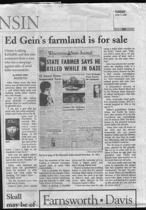 sukideen:  newspaper clipping about ed gein's farmland being on sale.