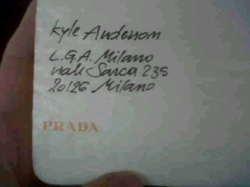 Kyle Anderson Senior Accessories Editor ELLE magazine My ticket to the PRADA show FW 2011/12 Runway. <3 Milano