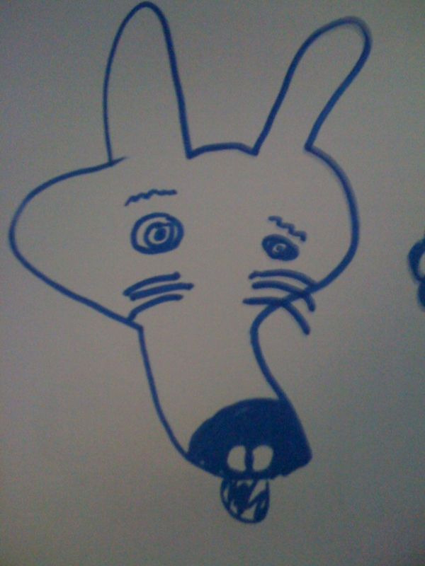 A drawing by me, aged 6, of my dog… not phallic at all!  #borngay