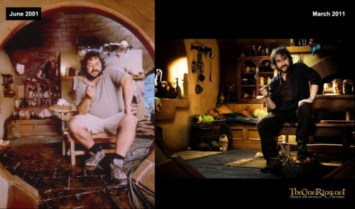 Weight Loss: The Hobbit director Peter Jackson does a photo op that really shows just how much he has slimmed down over the last 10 years since filming The Lord of the Rings series.