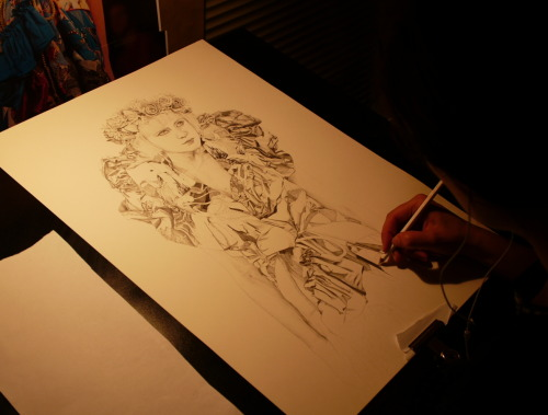 "my work ""in progress""… for the Drawn From Fashion show held recently at Melbourne Finders Keepers markets. // this piece was inspired by a Romance Was Born runway shot from LMFF 2008."