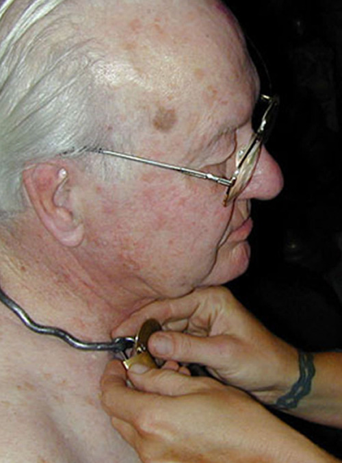 Before I ever wore a collar, I read about other submissives being collared on blogs, and I thought it sounded nice, but in a ritualistic way that seemed a little hokey to me.  Still, it seemed meaningful for them. I like to imagine the man in this picture has been a submissive all his life, but only now he's been able to act on that and find a dominant lover.  And here he is, being collared at last, when he's 84.  That seems very romantic….