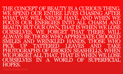 The concept of beauty.