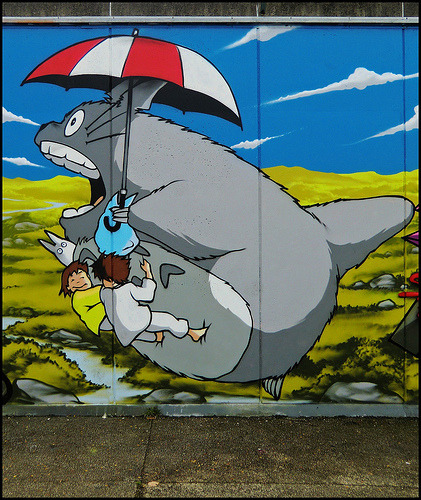 Daily Graffiti: Awesome Totoro graffiti by BrokeAlex. This is just a small part of a much larger Totoro themed piece that you can check out HERE. (photo by >sÖke<) Check out the Daily Graffiti Archives for more geektastic street art!
