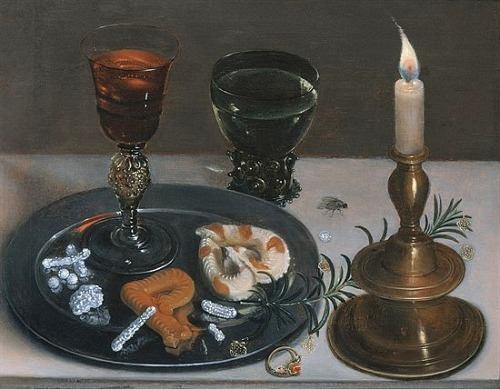 Clara Peeters Still Life with a Venetian Glass, Rummer and Burning Candle 1607